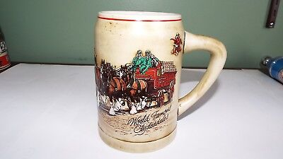 1980 Budweiser Champion Clydesdales  Holiday Beer Stein Mug