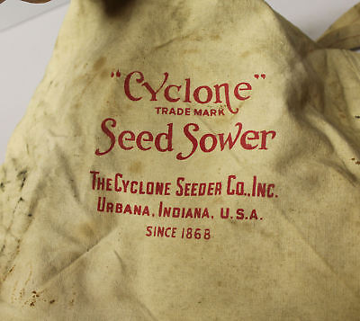 Antique Cyclone Seed Sower Broadcaster Canvas Bag with Crank