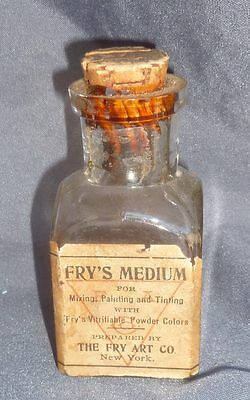 FRY ART COMPANY BOTTLE-Square-Embossed-Label-Medium Powder Base-1890s