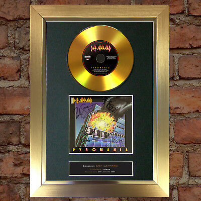 GOLD DISC DEF LEPPARD Pyromania Album Cd Signed Autograph Mounted Repro A4 #142