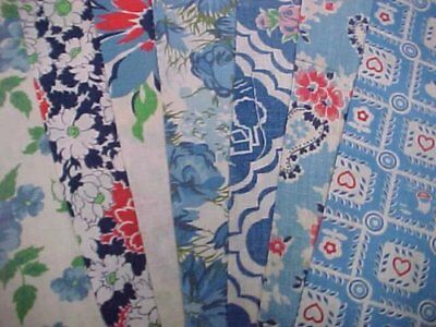 "BEST 20 Vintage ALL BLUE  Feedsack Fabric Quilt  5 x 8"" Flour Sack Material 40s"