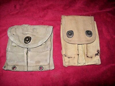 Vintage WWI and/or WW2 Ammo Clip Canvas Pouches, Lot of Two.