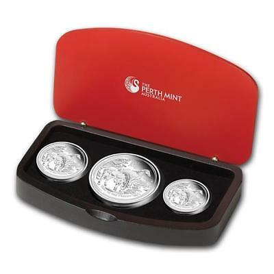 Australia Proof 3 Coin Set Silver Horse 2014 1 Oz 2 Oz 1/2 oz Monkey proof PF