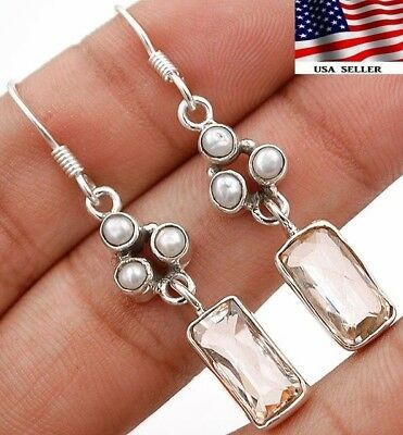 """3CT White Topaz 925 Solid Sterling Silver Earrings Jewelry 1 3/4"""" Long A6-4"""