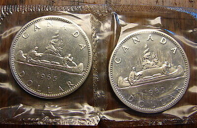 Canada Silver Dollars----2 dated 1965 Silver Dollars----Uncirculated .800 silver