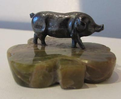 ANTIQUE MINIATURE STERLING SILVER PIG ON ONYX BASE - 1913 Henry Griffith & Sons