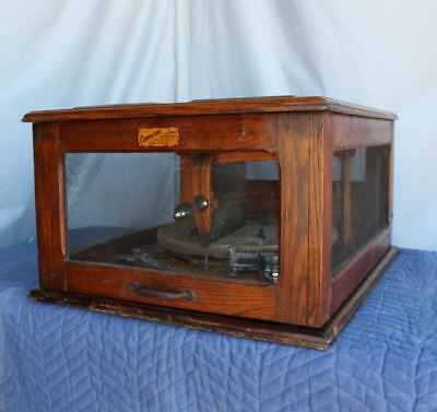 Antique Country Store Cheese Cutter In Oak Storage Cabinet - The Templeton