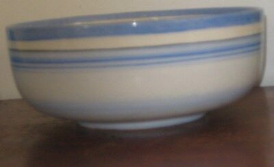 Gray's Pottery Bowl Pastel Blue Banded Painted Design