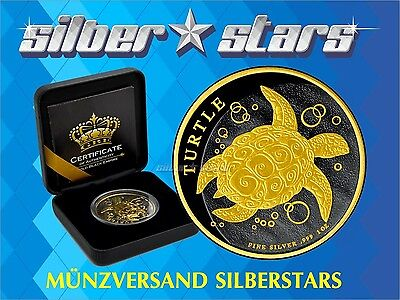 1 OZ Silber Turtle 2 NZD 2016  Gold Black Empire Edition