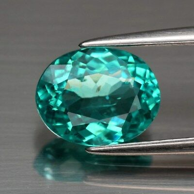 1.99ct 9.2x7.3mm Oval Natural Paraiba-Color Neon Blue Green Apatite