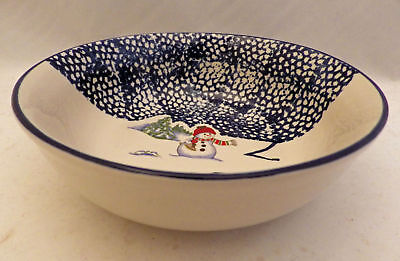 Thomson Pottery Snowman pattern - set/lot of 4 Snowman Cereal/soup bowls - New