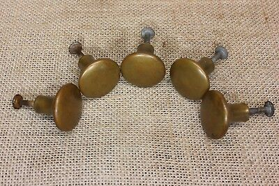 "5 door pulls 1 1/8"" Drawer knobs cabinet furniture brass vintage tarnish DENTED"