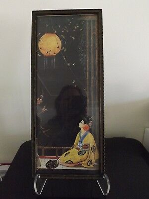 1920s Art Deco print by Marygold Asian woman lantern original frame 6.5X15.5 in
