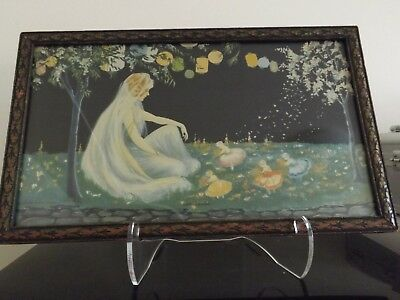 1920s Art Deco print by Marygold woman & fairies original frame 9X15 inches