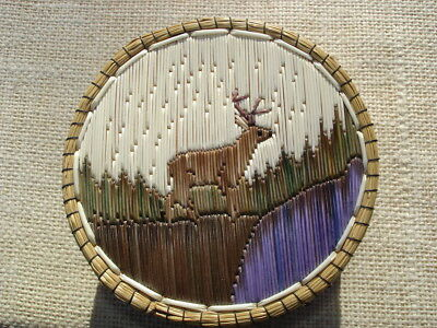 Anne Pangowish ~ Wikwemikong Ont. Porcupine Quill Box / Basket