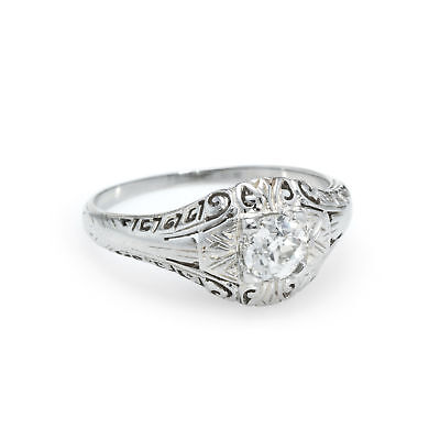 Old Mine Cut Diamond Ring Antique Art Deco Vintage Filigree 18k White Gold