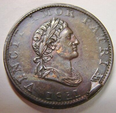 Great Britain - 1811 - Halfpenny - w/ Cud Along Rim - Mint Error