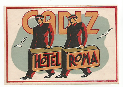 HOTEL ROMA luggage PORTER label (CADIZ)