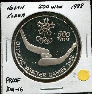 1988 Korea 500 Won Proof, KM-16, Olympic Winter Games 1988