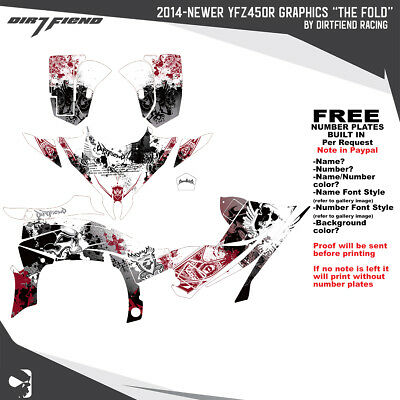 YFZ450R Graphics 2014-Newer DFR Fold White Yamaha Red Sides Fenders