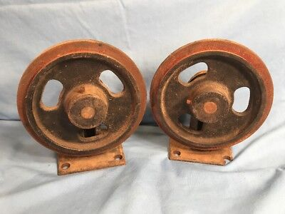"2 BIG HEAVY Vintage Cast Iron Industrial LIPPED ORE Cart Wheels 8"" Moving Freely"