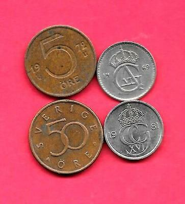 Sweden Swedish 4 Diff Different 1969-1992 Coin Lot Collection Set Group W Old