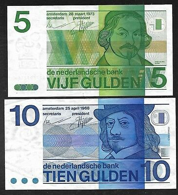 Netherlands - Old 5 & 10 Gulden Notes - 1973 & 1968 - VF