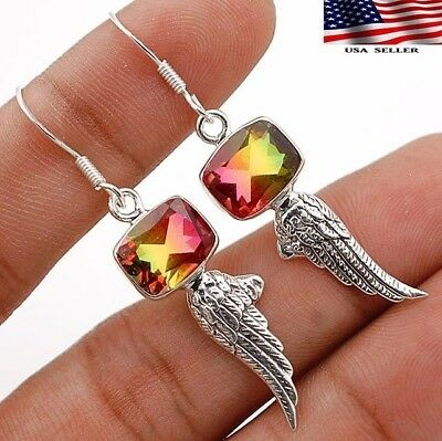5CT Double Color Tourmaline Quartz 925 Sterling Silver Earrings Jewelry A6-3