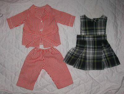 American Girl Molly Doll Clothes Lot Striped Pajamas & Plaid Jumper Pleasant Co