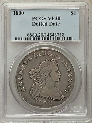 1800 US Silver $1 Draped Bust Dollar - Dotted Date - PCGS VF20