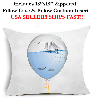 "18"" Nautical DOLPHIN FISH MARINE SALT LIFE Zippered Throw Pillow Case & Cushion"