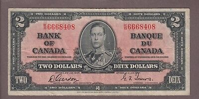 1937 $2 Dollars Gordon Towers - Prefix K/B - Bank of Canada - D901