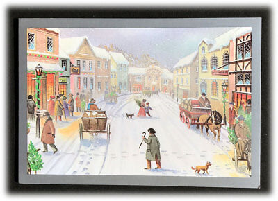 vintage religious scripture village christmas shopping new year card