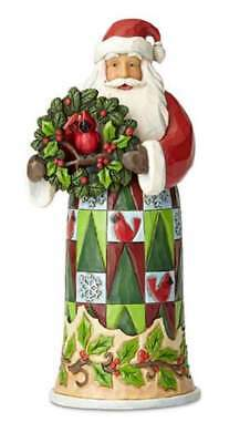Jim Shore Boughs Of Holly Make Friends Jolly Santa With Wreath Figurine 2017 New