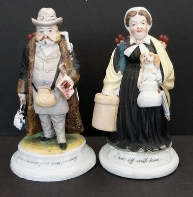Pair Of Antique Victorian Man Woman Ceramic Figurine Match Holders Strikers
