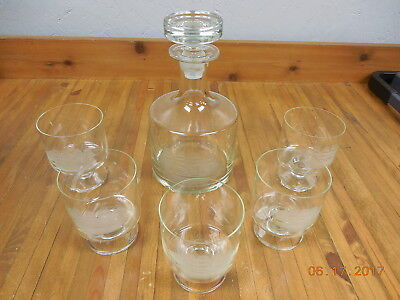 Vintage Nautical Etched Glass Wine Decanter with Glass Stopper & 5 Glasses  #
