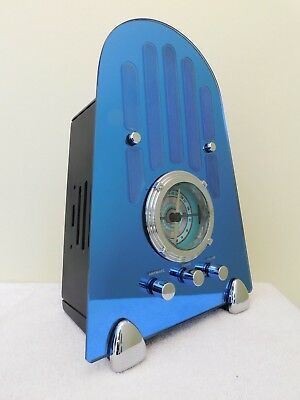 Vintage Antique Old Full Frontal Cobalt Blue Mirror Art Deco Cathedral Radio