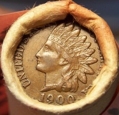 1900 Indian/tail Indian Ends Unsearched Estate Old Roll Wheat/indian Cents #1976