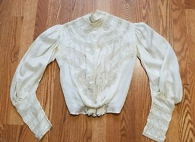 Antique Vintage Ivory Silk and Lace Victorian Shirtwaist Blouse Top Bodice