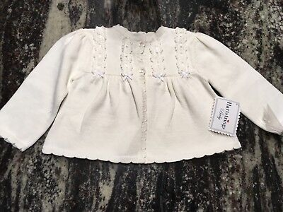 NWT Hartstrings White Ribbon Trimmed Cardigan Sweater Girls size 12 Months