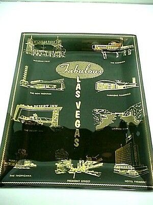 Fabulous Las Vegas Houze Art Black Glass Tray 1960's Gold Etching Beautiful