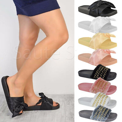 WOMEN COMFORT FLUFFY FAUX FUR SLIDER LADIES BUCKLE SUMMER HOLIDAY SANDALS SHOES