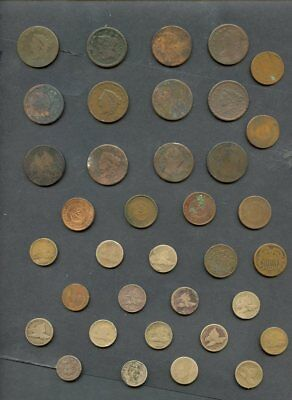 (33) U.S Early Copper Low Grade Lot-12 large cents,12 flying eagle,8 2 cents pc