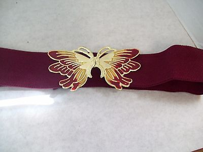 Burgandy & Gold Butterfly Closure Buckle Burgandy Stretch Wide Belt S/M K1