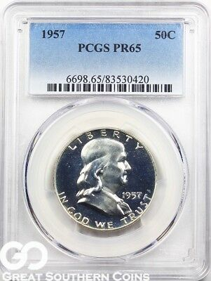 1957 PCGS Franklin Half Dollar PROOF PCGS PR 65 ** Super PQ, Blast White PF