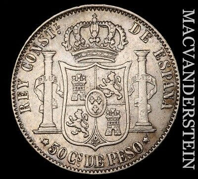 Philippines (Spain): 1883 Fifty Centimos - Scarce!!  Better Date!!  #x6681