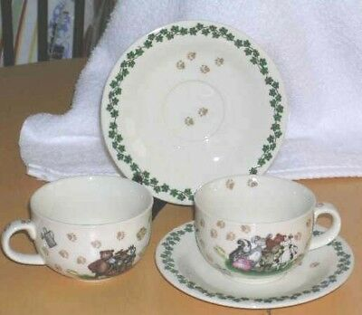 Paul Cardew Boyd's Animals Paw Prints Cups Saucers 25th Anniversary 2004 4pc New