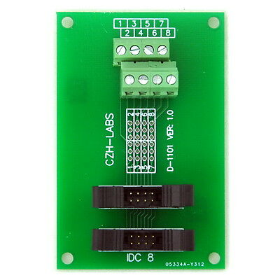 IDC-8 2x4pins 2.0mm Dual Male Header Breakout Board, Screw Terminal Connector.