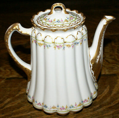 RARE Theodore Haviland & Company Limoges France Ribbed Floral Gilded Coffee Pot