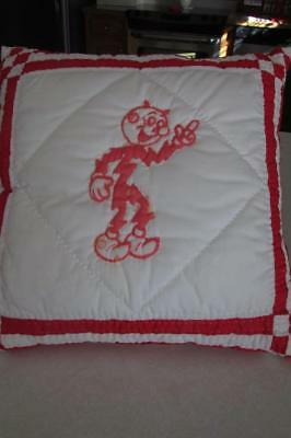 Reddy Kilowatt Pillow-Stamped/quilted Utility Logo-Hand Stitched-White/red